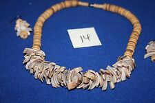 Beach Bead Shell Necklace 20 inch and ear rings   (14)