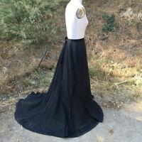 1900s Antique Skirt w/ Train Victorian Edwardian black satin detail
