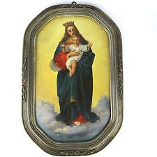 Antik Ölbild Maria Jesus Kind Madonna Öl aud Karton Modellrahmen Widmung 19. Jh.