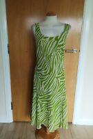 Ladies PER UNA Dress Size 12 Green Tiger Stripe Smart Party Evening