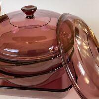 5 Piece Pyrex Cranberry 2qt Square & 1.5L Round w/Lid Casserole Dishes Vintage