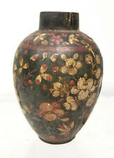 Antique Papier Mache Turned Wood Persian Middle Eastern Floral Vase Lacquered