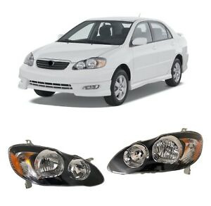For 03 08 Toyota Corolla Black Headlights Type S Lamps Replacement Pair Set