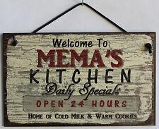 Mema's Kitchen 5x8 Sign Grandma Mom Diner House Bake Cook Cookie Parent Home