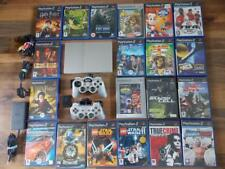 PLAYSTATION 2 LTD EDTION SLIM SILVER+2 CONTROLLERS+20 TOP FAMILY GAMES-MEM CARD