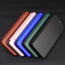 For HTC Desire 20+ Plus Carbon Fiber Cover Magnetic Flip Leather Wallet Case