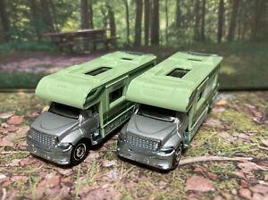Lot Of 2 Matchbox OUTDOOR GMC MBX Motorhome Camper Green 1:87 HO New Loose