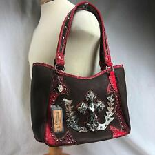 P&G Collection Red Women's Handbag  Purse Leather Cross Conceal