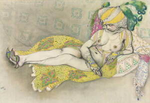 Leon Bakst The Yellow Sultana Giclee Art Paper Print Poster Reproduction