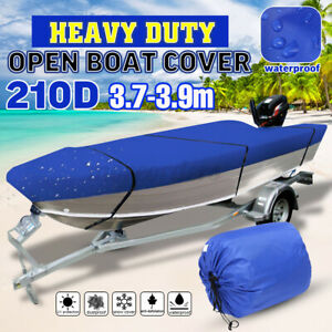 Blue Waterproof Open Boat Cover Marine Grade Trailerable V-Hull Dinghy