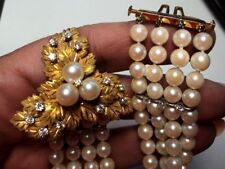 """Antique 4-Row Pearl Bracelet HUGE 18K Gold Clasp Detailed with Diamonds 6"""" Long"""
