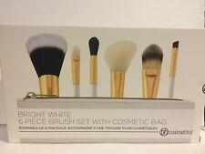 NEW BH Cosmetics 6-Piece BRIGHT WHITE Brush Set w/Zip Bag