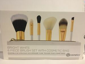 NEW BH Cosmetics 6-Piece BRIGHT WHITE Brush Set w/Zip Bag