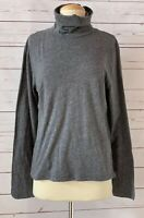 MADEWELL Size L Cotton Turtleneck Long Sleeve Top Gray Marled