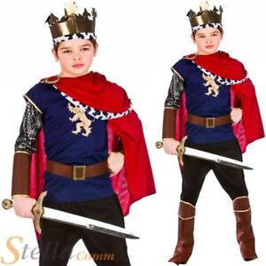 Boys Deluxe Medieval King Costume Arthur Knight Child Fancy Dress Outfit