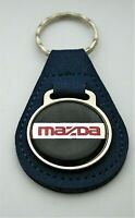 Vintage Mazda Leather Automotive Car Metal Key Chain Blue FOB 1970s NOS New
