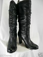 BP 8 M Black Genuine Leather Knee Tall Soft Insulated Heels Scrunch Boots