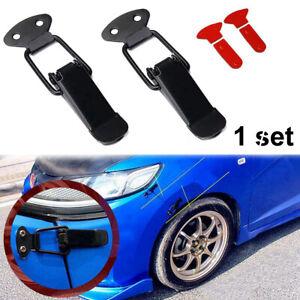 2x Universal Car Bumper Trunk Fender Hatch Lids Quick Release Fastener Kit Black