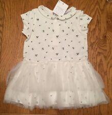 Next Baby Girl Gorgeous Short Sleeve Ecru Ditsy Floral Tunic/dress🌸 0-3 BNWT