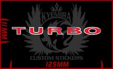 Turbo red on chrome badge vinyl sticker decal 125mm long