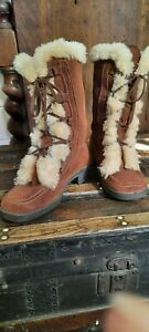 Vintage Norwegian ' Viking ' womens suede and fake fur ankle boots