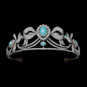 Aqua Oval Turquoise & Diamond White Gold Plated Double Halo Bow Design Tiara