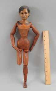 Antique 19thC Folk Art Carved Wood & Wax Head Lay Figure Artist Model Mannequin