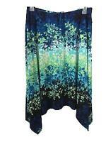 Robert Louis skirt size XL stretch waist floral longer sides pull on blue green