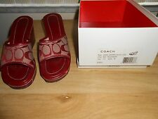 COACH Red LOGO CHARMA Wedge Platform Sandals Shoes SZ 7.5 M
