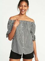 Old Navy Off-the-Shoulder Button-Front Gingham Swing Top Black Size XS #220920 J