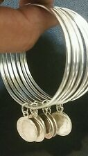 7 days 925 silver bangles with  coins ,semanario
