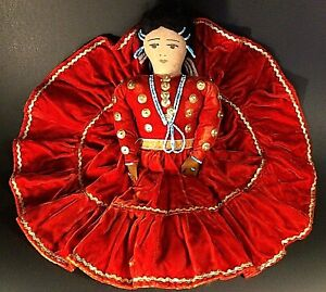 "FRED HARVEY INDIAN DOLL VINTAGE HAND MADE 13"" RED VELVET DRESS WITH BEADS"