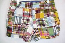 J. CREW Shorts Patchwork Madras Plaid Sz 0 City Fit Slash, Welt Pockets NEW #351
