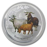 Perth Mint Australia 2015 $ 0.5 Coloured Goat Half 1/2 oz .999 Silver Coin