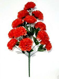 "12-4"" Red Carnation 19"" Bush Silk Flower Home Wedding All Decor Craft US #2192"