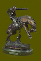 100% Bronze Sculpture Hot Cast American Bronco Twister by Frederick Remington NR