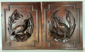 Black Forest carved wood plaques PAIR 19th century fabulous
