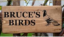 PERSONALISED PIGEON DOVECOTE SIGN PLATE PLAQUE LOFT YOUR OWN WORDING BIRDS GIFTS