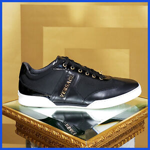 NEW VERSACE GOLD LETTERS LEATHER SNEAKERS 45.5 - 12.5