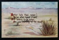 Antique Postcard~ Desert Scene~ Scull~ Are You Waiting 'Til I'm Dead~ P980