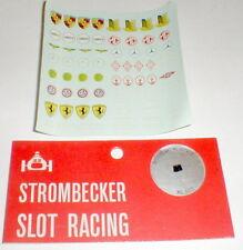 Decal Sheet of Over 66 Car Racing Logos 7 names by Strombecker Slot Car NOS