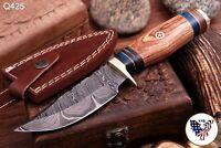 CUSTOM HAND FORGED DAMASCUS STEEL SKINNER KNIFE W/ ROSE WOOD HANDLE - Q 425