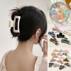 Large Size Women Hair Claw Large Hair Clip Rectangle Acrylic Resin Barrette Clip
