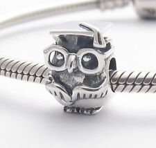 WISE GRADUATION OWL CHARM Bead Sterling Silver .925 for European Bracelets 517