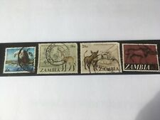 4 x Zambia Stamps 1970's Mammals and Eagle