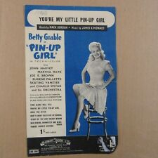 """song sheet YOU're A LITTLE PIN-UP GIRL, Betty Grable in """"Pin-up Girl"""" 1944"""