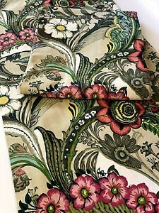NEW 2 World Market Lined Curtain Panels 48x84 Floral Retro Green Pink Tropical