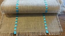 "Table Runner Burlap/Jute 34"" X 12""~ HandMade Natural Burlap~Teal/Tropical Blue"