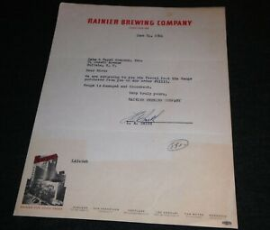 1944 Ranier Brewing Company, California, Honolulu Vintage Letterhead