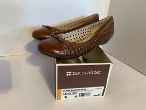 Naturalizer Women's Size 10 N Brown Diara N5 Comfort Leather Upper Slip On Flats